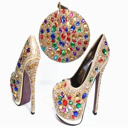 Wholesale Sew Crystals Buttons - G32 Gray Wholesale Luxury African Crystal Shoes And Bag Sexy Lady High Heels Wedding Pumps Free Shipping