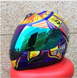 Wholesale Rossi Helmets - Free shipping MALUSHUN Cool Men Blue Motorcycle Helmet Rossi Five Continents NUmber 46 Pattern Motocicleta Cascos Para Moto