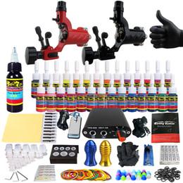 Wholesale Power Supply 16 - SolongTattoo New Beginner 2 Pro Machine Guns Tattoo Kit Power Supply Needle Grips tip 28 color ink set TK204-16
