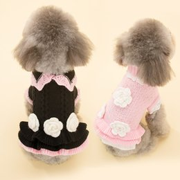 Wholesale Dog Flower Dresses - Cute Skirt Style Black Pink Color S-XXXL Size Dog Sweater for Autumn and Winter Sweaters with Flowers Knitting Sweaters for Pets