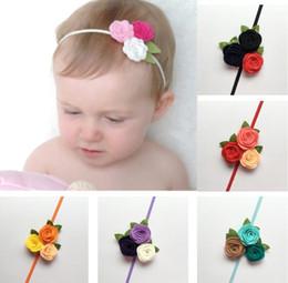 Wholesale Felt Hair Bands - 10pcs Cluster Felt Flower Fashion Headband Newborn Girls Kids Hair Accessories Three Rosettle Flowers Head Bands 6colors