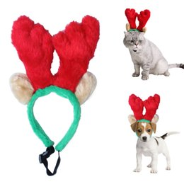 Wholesale Dog Reindeer - 2017 new style Cute Pet Christmas Reindeer Antlers Headband Party Prop Ornaments For Dog Cat