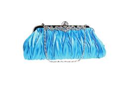 Wholesale Black Coffee Crystals - Women Lady Satin Crystal Bridal Handbag Clutch Party Wedding Purse Evening Bag
