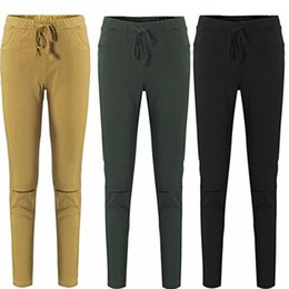 Wholesale Girls Legging Jeans - Elastic Waist Kill Hole Pants Skinny Fashion Women Pockets Pants Girl Ladies Sexy Clothes Leggings Trousers Skinny Pencil Jeans Slim Legging