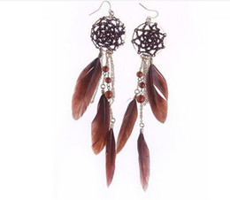 Wholesale Pearl Dreams - Wholesale White Feather Circular Dream Catcher With Crystal Women Earrings Fashion Hyperbole White Feather Sexy Party Accessories 98