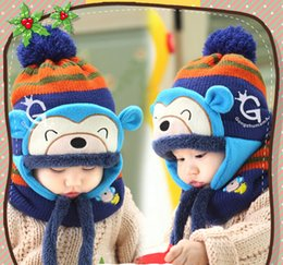 Wholesale Wholesale Kids Aviator Hats - Lovely Monkey Design Hats Baby Caps Kids Aviator Hat Bomber Winter Cap Baby Bonnet Hat and Scarf set For Children Accessories