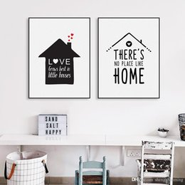 Wholesale House Picture Frames - Black White Nordic Minimalist Houses Love Quotes A4 Canvas Art Print Poster Wall Picture Painting Home Kids Room Decor No Frame