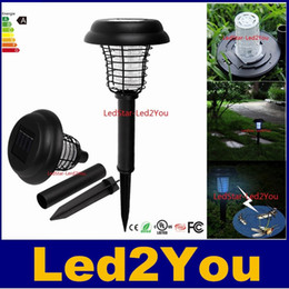 Wholesale Anti Mosquito Lamp - UV LED Solar Powered Outdoor Yard Garden Lawn Light Anti Mosquito Insect Pest Bug Zapper Killer Trapping Lantern Lamp