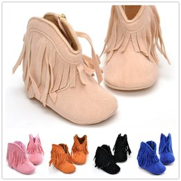 Wholesale Cute Boots For Baby Girls - 2016 European Style Fashion Baby Shoes Tassel Infant Cotton Boots Cute for Girls First Walker Design Lovely Soft Sole Autumn Winter 6 Colors