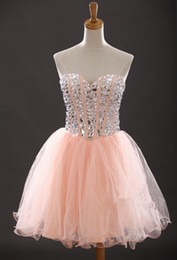 Wholesale Cocktails Dresses Sweetheart Neckline - Beaded Crystal Soft Tulle Ball Gown Cocktail Dresses With Sweetheart Neckline 2016 Knee Length Party Dress Lace Up