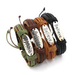 Wholesale Believe Letters - 4 colors Mixed Infinity Bracelet Vintage Charm Leather Bracelet Women Believe Bracelets Best Friends Gift Couples fashion jewelry