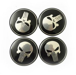 Wholesale Center Wheel Decals - 4pcs lot Cool Punisher Car Steering tire Wheel Center car sticker Hub Cap Emblem Badge Decals Symbol For Honda VW Audi BMW Nissan Ford Toyot
