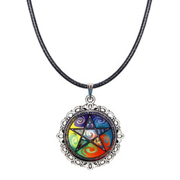 Wholesale Neckless Wholesale - Magic Pentacle Choker Necklace Pentagram Pendant Wiccan Jewelry Five Elements Astrology Witch Neckless Women Collar Accessories Glass Dome