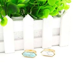 Wholesale Designer Wholesale Rings - High quality designer druzy stone ring geometric scott gemstone rings silver plating white turquoise finger rings jewelry gift
