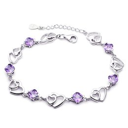 Wholesale Wholesale Traditional Wedding - 925 sterling silver bracelets female models double heart amethyst bracelet sterling silver jewelry manufacturers wholesale Korea Version