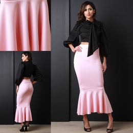 Wholesale Cheap Winter Clothes For Women - 2016 New Fashion Mermaid Skirt Custom Fit Pink Ankle Length Long Skirt For Women Cheap Women's Clothing