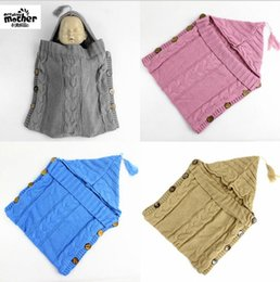 Wholesale Wholesale Infant Sleeping Bag - INS Baby Swaddle Wrap Infant Crochet Wraps Sleeping Bags Toddler Knitted Blanket Swaddle Crochet Baby Sleeping Bag Sack Stroller Wrap D940 5
