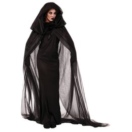 Wholesale Ghost Clubs - Halloween Costume Club Carnival Dress Crape With hood Wandering Soul Female The Ghost The Witch Costume
