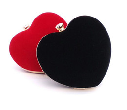 Wholesale Heart Shaped Red Handbag - Wholesale-New 2016 Heart Shape Clutch Bags Suede Red Evening Bag Chains Clutches Wedding Purse Handbags Women Party Evening Clutch