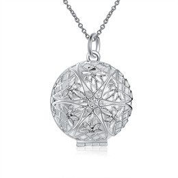 Wholesale Rolo Floating - DIY Men's Women's Essential Oil Diffuser Floating Hollow Circle-Shaped Locket Pendant Censer Aromatherapy Silver Plated Rolo Chain Jewelry
