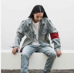 Wholesale Dresses Women Jean - Wholesale- 2017 Holes 424 Armband Hip Hop Denim Jean Jackets Men Women Fashion Bomber Man Jacket Men's Windbreaker Streetwear Couples Dress