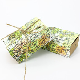 Wholesale Map Housing - 100Pcs Cuboid Map Candy Boxes Kraft Paper Wedding Party Favour Baby Shower Gift Box Party Supply