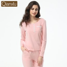 Wholesale Thermal Underwear For Women L - Wholesale-Qianxiu Long Johns For Girl Mid-Rise Standard Intimates 95%Cotton thermal underwear women