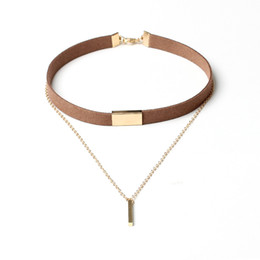 Collier plastron multi chaîne en Ligne-Black Brown Velvet Alloy Chain Choker Necklace Multi-layer Charm Metal Bar Pendant Bib Collar Necklaces Women Fashion Jewelry Gifts Accessor