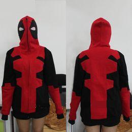 Wholesale X Men Women Costume - Hot Anime Deadpool Cosplay Costume X-men Hoodies Women Sweatshirt Men's Sportswear Thin Section Cardigan With Hat Hot Sale