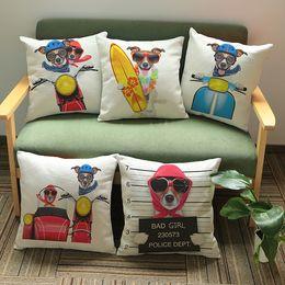 2019 fundas de almohada hechas en casa Lovely Cool Cartoon Dog Print Square 45x45cm Asiento de coche suave funda de almohada funda de cama funda de almohada WA0865