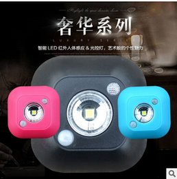 Wholesale Infrared Human Sensor White Led - Drop shipping By AAA battery Human Body Motion & Light Sensor LED Night Light Wireless Infrared Induction Lamp for Cabinet Bedside Hallway
