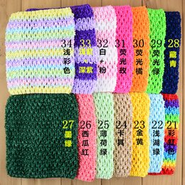 Wholesale crocheted tube tops - 15X15cm Baby Girl 5.9inch Crochet Tutu Tube Tops Chest Wrap Wide Crochet headbands for 7-10years old girls 34colors