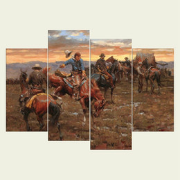 Wholesale People Oil Painting Canvas - (No frame) Hunting people series HD Canvas print 4 pcs Wall Art Oil Painting Textured Abstract Pictures Decor Living Room Decoration