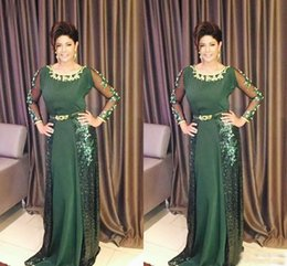 Wholesale Lace Silk Wedding Dress Sleeves - Green Mother Of The Bride Dresses Scoop Sequins Lace Appliques Long Sleeves A-Line Plus Size Party Dress Wedding Guest Gowns