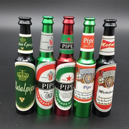 Wholesale Wine Accessory Wholesale - High Quality Beer Bottle Style Metal Smoking Hand Pipe Mini Size Tobacco Smoke Filter Pipes Small Smoking Accessories Beer Wine Pattern
