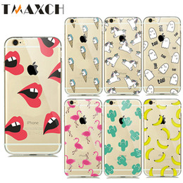 Wholesale Lovely Fruits - Fruit Banana Lovely Cartoon Case For Apple iPhone 6S 6 7 Plus 5S SE Unicorn Flamingo  Lip Horse Cover Soft Silicone Cactus Cases