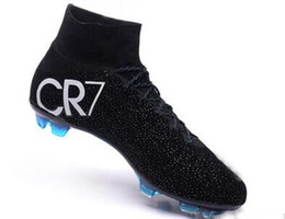 Wholesale Black Tops Spikes - Best football shoes men's CR7 CR501 boots new Ronaldo cr7 Black soccer boots superflys football boots high tops soccer cleats s