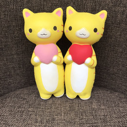 Wholesale Cats Fun - 10psc Lot 17cm Heart Cat Squishy Jumbo Kitty Pussy Slow Rising Original Phone Straps Pendant Cream Scented Bread Cake Kids Fun Toy Gift
