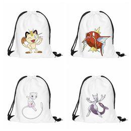 Wholesale Mew Poke - 3D Print Cartoon Magikarp Mew Meowth Mewtwo Drawstring Backpack Cartoon Poke Go Oxford Fabric School Bags For Halloween Party Gift