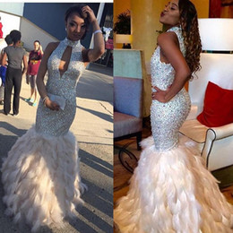 Wholesale Women White Pageant Gowns - Stunning Sequined Feather Prom Dresses Long Rhinestones Beaded High Neck Formal Gowns Floor Length Evening Pageant Dress For Women