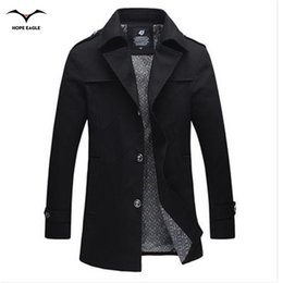 Wholesale Cheap Mens Trench Coats - Fall-2016 Fashion trench coat men jacket men cheap mens trench coats cotton Hot Selling turn-down collar plus size 4XL