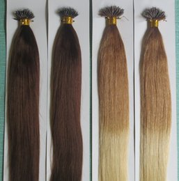 Wholesale Nano Beads - 5A Grade 10-28'' Silky Straight 200 Beads +0.5g*200s Black Brown Blonde Mixed Ombre Colors 100% Indian Remy Human Hair Extensions Nano Rings
