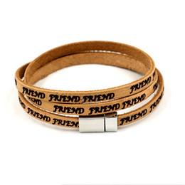 Wholesale Cheap Stainless Steel Letters - Vintage Mens Women Leather Bracelets FEIEND Lettering Twining bracelets Friendship Bracelet Cheap Jewelry Bangles Valentine's Day Gifts