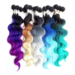 "Wholesale Synthetic Body Wave Weave - 3 bundle Hair with one Machine Closure 18"" 20"" 22"" Blue Green Synthetic Hair Ombre Weave Extension High Temperature Fiber Body Wave Weft"