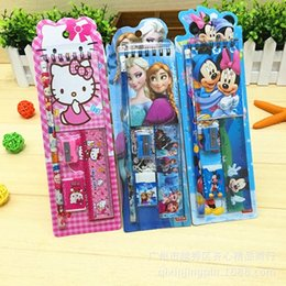 Wholesale Wholesale Princess Pencil Case - Schoo Children Gift Birthday present Cartoon Frozen Princess Car Children small stationery set 5 In 1 Economical practical