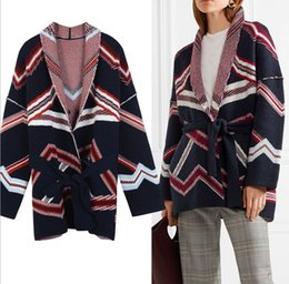 Wholesale Fashionable Belts - New Winter Geometric Jacquard Knitted Coat Waist Belt In Long Cardigan Fashionable Women's Outwear