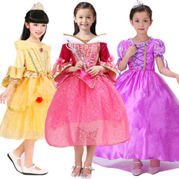 Wholesale Christmas Light Boat - belle princess dress girl purple rapunzel dress Sleeping beauty princess aurora flare sleeve dress for party birthday in stock