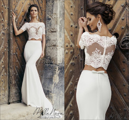 Wholesale Short White Silk Wedding Dresses - 2017 Two Piece Mermaid Wedding Dresses Naviblue Sheer Bateau Neck Short Sleeves Lace Appliques Bodice Bow Sheath Bridal Gowns with Train