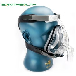 Wholesale Face Material - wholesale  FM1 Full Face Mask For Snoring Apply To Medical CPAP BiPAP Silicone Gel Material Size S M L With Headgear Clip Free Shipping