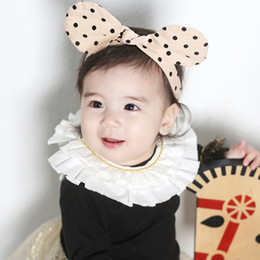 Wholesale Baby Ear Band - wholesale 15pcs lot Cotton Dot Hairbands Baby Girl Head 12colors bunny Ears Head Band Bowknot Hair Accessories